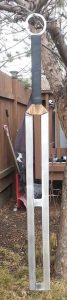steel macuahuitl 36in blade 2ft long by 3in wide weight 2lbs10oz POB 7in fr handle