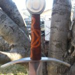 arming sword 33in blade 7in handle w pommel weight 2.5lbs POB 4.5in fr guard - celtic knot carved handle w engraving B
