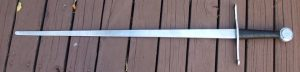 arming sword 40in blade 33in weight 2.25lbs POB 3in fr guard