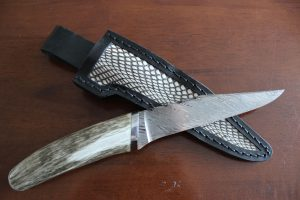 Damascus Knife with Antler Handle