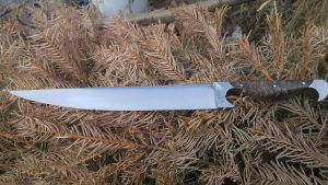 big kahuna 5160 blade stainless bolster and pommel buckeye burl w leather sheath