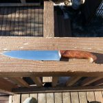 chefs knife o1 blade stabilized redwood burl handle